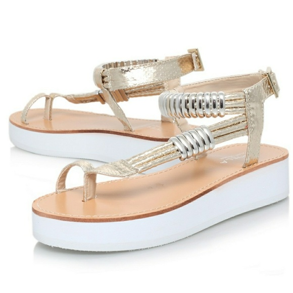 4229d498c2b Kurt geiger shoes carvela flat platform sandals in gold and white jpg  580x580 Gold flat platform